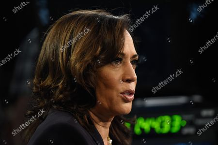 Stock Photo of On August 11, 2020 former VP Joe Biden named Kamala Harris as his running mate, making the California senator the first Black and South Asian American woman to run on a major political party's presidential ticket.  The image shot at the 2020 Democratic Party presidential debates held at The Adrienne Arsht Center on June 27, 2019 in Miami