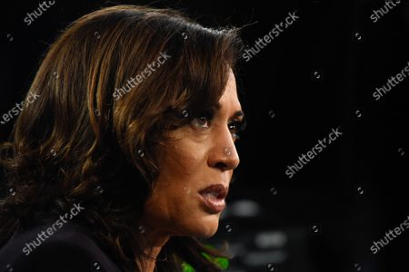 On August 11, 2020 former VP Joe Biden named Kamala Harris as his running mate, making the California senator the first Black and South Asian American woman to run on a major political party's presidential ticket.  The image shot at the 2020 Democratic Party presidential debates held at The Adrienne Arsht Center on June 27, 2019 in Miami