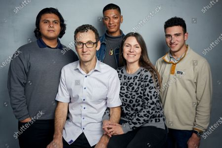 """Steven Garza, from left, director Jesse Moss, Rene Otero, director Amanda McBaine and Ben Feinstein pose for a portrait to promote the film """"Boys State"""" during the Sundance Film Festival in Park City, Utah on . In the documentary, directors Moss and McBaine attend a week-long program in Austin, Texas, where 1,100 high school boys attempt to build a mock government"""