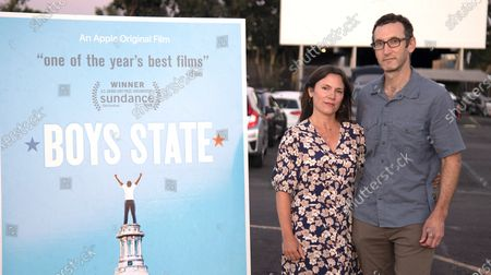 Filmmakers Amanda McBaine and Jesse Moss attend A24 Studio's Special Screening of 'Boys State' at West Wind Capitol