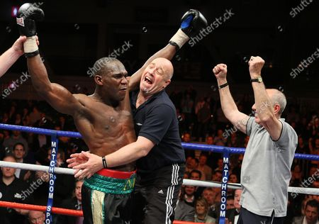 Ovill McKenzie (Canning Town, black shorts) defeats John 'Buster' Keeton (Sheffield, silver/grey shorts) to win the Final of Prizefighter 'The Cruiserweights' Boxing contest at Earls Court, London promoted by Barry Hearn / Matchroom Sports