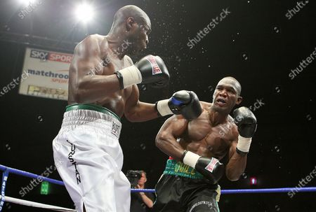 Ovill McKenzie (Canning Town, black shorts) defeats Terry Dunstan (Vauxhall, white shorts), Round One of Prizefighter 'The Cruiserweights' Boxing contest at Earls Court, London