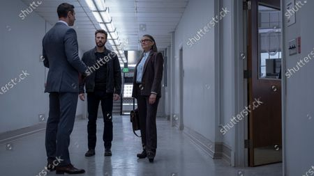 Stock Picture of Pablo Schreiber as Neal Loguidice, Chris Evans as Andy Barber and Cherry Jones as Joanna Klein