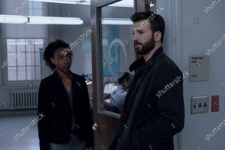 Betty Gabriel as Pam Duffy and Chris Evans as Andy Barber
