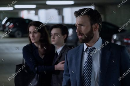 Michelle Dockery as Laurie Barber, Jaeden Lieberher as Jacob Barber and Chris Evans as Andy Barber