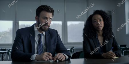 Chris Evans as Andy Barber and Betty Gabriel as Pam Duffy