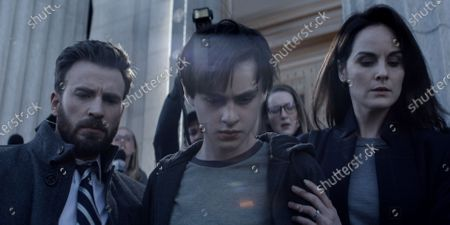 Chris Evans as Andy Barber, Jaeden Lieberher as Jacob Barber and Michelle Dockery as Laurie Barber