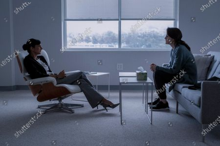 Stock Picture of Poorna Jagannathan as Elizabeth Vogel and Michelle Dockery as Laurie Barber