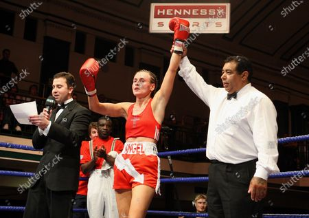 Angel McKenzie (Thornton Heath, red shorts) defeats Lana Cooper (Wales, black shorts) in a Featherweight Boxing contest at York Hall, Bethnal Green, promoted by Hennessy Sports