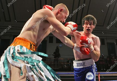 Andrew Murray (Cavan, blue shorts) defeats Adam Kelly (Sheffield) in a Lightweight Boxing contest at York Hall, Bethnal Green, promoted by Hennessy Sports