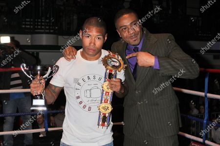 British LightWelterweight champion Ashley Theophane (L) and Spencer Fearon at York Hall, Bethnal Green during a boxing show promoted by Spencer Fearon / Hard Knocks