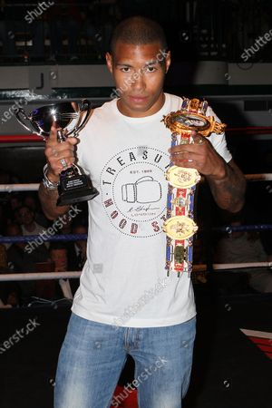 British LightWelterweight champion Ashley Theophane at York Hall, Bethnal Green during a boxing show promoted by Spencer Fearon / Hard Knocks