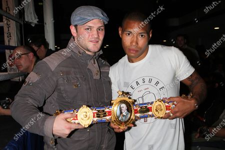 British LightWelterweight champion Ashley Theophane (R) and George Hillyard at York Hall, Bethnal Green during a boxing show promoted by Spencer Fearon / Hard Knocks