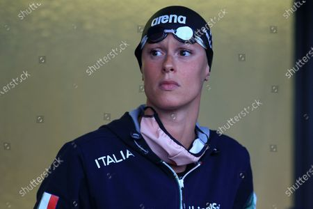 Federica Pellegrini of Italy looks at a competition during the 57th Settecolli 2020 international swimming trophy at Foro Italico on August 13, 2020 in Rome, Italy.