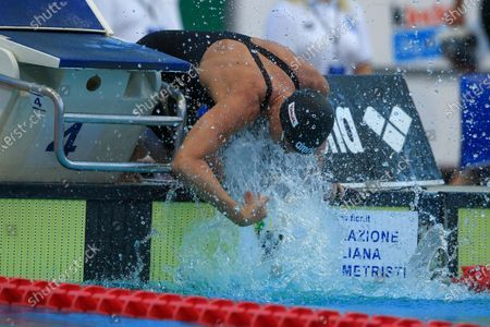 Federica Pellegrini wet herself before the women's 100m freestyle at the 57th Settecolli 2020 international swimming trophy at Foro Italico on August 13, 2020 in Rome, Italy.