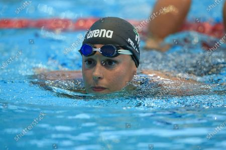 Federica Pellegrini exits the pool after winning the women's 100m freestyle at the 57th Settecolli 2020 international swimming trophy at Foro Italico on August 13, 2020 in Rome, Italy.