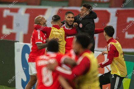 Paolo Guerrero of Internacional celebrates his goal in the 57th minute for 1-0; Estadio Beira Rio, Porto Alegre, Brazil; Brazilian Serie A, Internacional versus Santos.