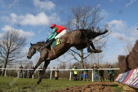 Race winner Ballypatrick ridden by Conor O'Farrell in jumping action in the Andy Don Memorial Beginners Chase