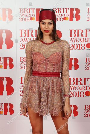 Katie Keight attends The BRIT Awards 2018 Red Carpet