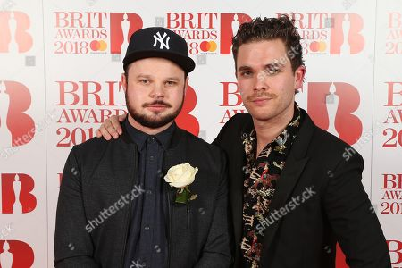 Royal Blood Ben Thatcher and Mike Kerr attend The BRIT Awards 2018 Red Carpet
