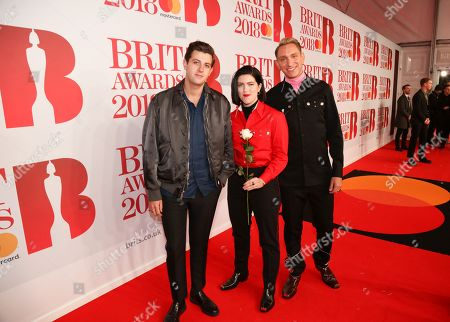The xx - Jamie xx,  Romy Madley Croft and Oliver Sim attend The BRIT Awards 2018 Red Carpet