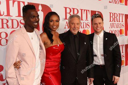 Stock Image of Mo Adeniran, Jennifer Hudson, Olly Murs and Tom Jones attend The BRIT Awards 2018 Red Carpet
