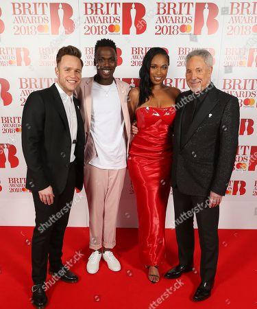 Stock Photo of Olly Murs, Mo Adeniran,, Jennifer Hudson and Tom Jones attend The BRIT Awards 2018 Red Carpet