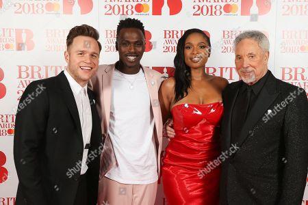 Olly Murs, Mo Adeniran,, Jennifer Hudson and Tom Jones attend The BRIT Awards 2018 Red Carpet