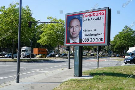 Economic fraud at Wirecard: search for fugative manager Jan Marsalek on a large poster, Hamburg.