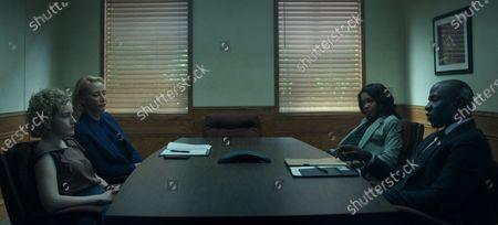 Stock Picture of Julia Garner as Ruth Langmore, Janet McTeer as Helen Pierce, Jessica Frances Dukes as Maya Miller and McKinley Belcher III as Agent Trevor Evans