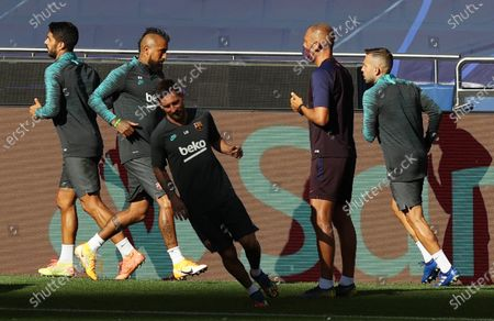 Luis Suarez (L), Arturo Vidal (2L), Lionel Messi (3L) and Jordi Alba (R) during the training session of Barcelona in Lisbon, Portugal, 13 August 2020. Barcelona will face Bayern Munich in an UEFA Champions League quarter final match on 14 August in Lisbon.
