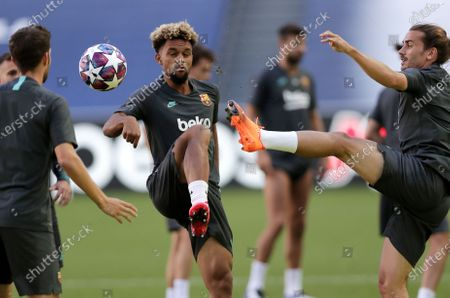 Stock Photo of Konrad De La Fuente (C) and Antoine Griezmann (R) during the training session of Barcelona in Lisbon, Portugal, 13 August 2020. Barcelona will face Bayern Munich in an UEFA Champions League quarter final match on 14 August in Lisbon.