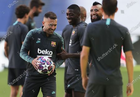 Fullback Jordi Alba (L) and teammates during the training session of Barcelona in Lisbon, Portugal, 13 August 2020. Barcelona will face Bayern Munich in an UEFA Champions League quarter final match on 14 August in Lisbon.