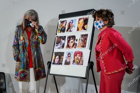 Janet Baggett, mother of the late Elizabeth Baggett, wipes her eyes as she and Attorney Gloria Allred stand next to a board displaying photographs of Baggett's late daughter at a press conference on Tuesday, Aug. 11, 2020 in Los Angeles, CA. Allred's film, Allred, Maroko & Goldberg, filed the lawsuit on behalf of the estate of Elizabeth Baggett, whose dead body was allegedly fondled by an on-duty Los Angeles Police Department officer. (Kent Nishimura / Los Angeles Times)