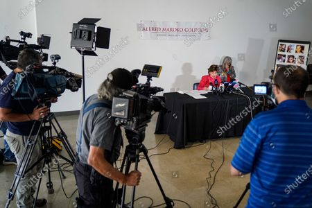 Attorney Gloria Allred speaks at a press conference on Tuesday, Aug. 11, 2020 in Los Angeles, CA. Allred's film, Allred, Maroko & Goldberg, filed the lawsuit on behalf of the estate of Elizabeth Baggett, whose dead body was allegedly fondled by an on-duty Los Angeles Police Department officer. (Kent Nishimura / Los Angeles Times)