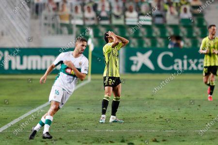 "Shinji Kagawa (Zaragoza) - Football / Soccer : Kagawa regret after miss shot during Spanish ""La Liga SmartBank"" promotion playoffs semifinals 1st leg match between Elche CF 0-0 Real Zaragoza at the Estadio Manuel Martinez Valero in Elche, Spain."