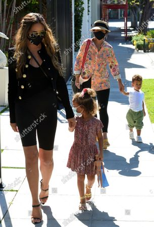 Chrissy Teigen, who today announced that she was pregnant is seen out in West Hollywood with daughter Luna and son Miles