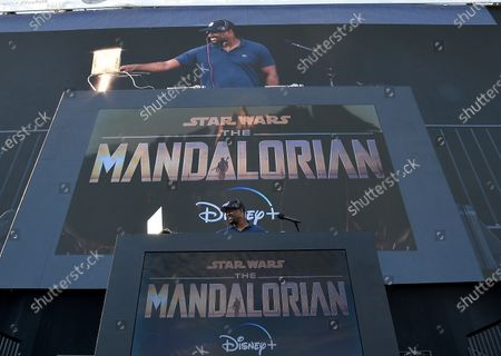 DJ MOS at the Disney Drive-In series FYC event for the Disney + show 'The Mandalorian' at the Rose Bowl on August 13, 2020 in Pasadena, California.