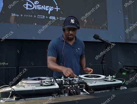 Stock Photo of DJ MOS at the Disney Drive-In series FYC event for the Disney + show 'The Mandalorian' at the Rose Bowl on August 13, 2020 in Pasadena, California.