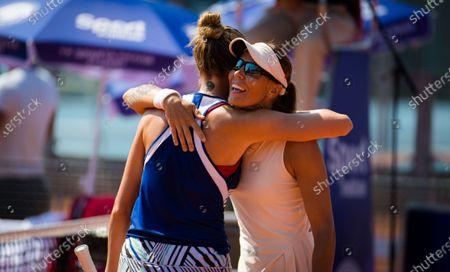 Lucie Hradecka & Kristyna Pliskova of the Czech Republic reacts to winning the doubles final of the 2020 Prague Open WTA International tennis tournament