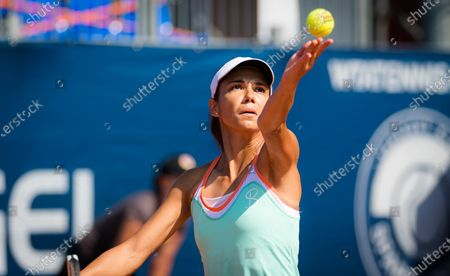 Raluca Olaru of Romania in action during the doubles final of the 2020 Prague Open WTA International tennis tournament