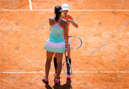 Raluca Olaru & Monica Niculescu of Romania in action during the doubles final of the 2020 Prague Open WTA International tennis tournament