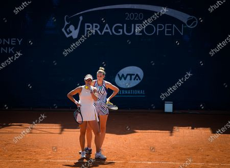 Lucie Hradecka & Kristyna Pliskova of the Czech Republic in action during the doubles final of the 2020 Prague Open WTA International tennis tournament