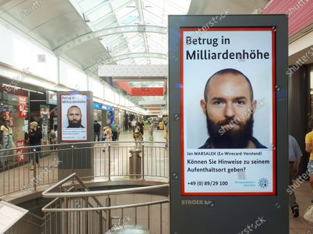 Economic fraud at Wirecard: search for fugative manager Jan Marsalek on a poster in a mall