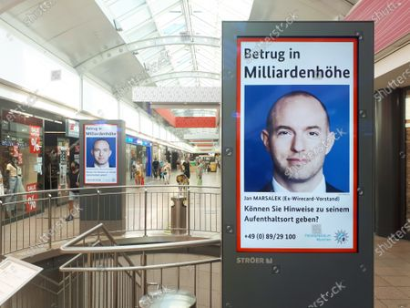 Stock Image of Economic fraud at Wirecard: search for fugative manager Jan Marsalek on a poster in a mall