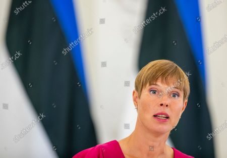 Estonia's President Kersti Kaljulaid speaks during a news conference following his meeting with Lithuania's President Gitanas Nauseda at the Presidential Palace in Vilnius, Lithuania
