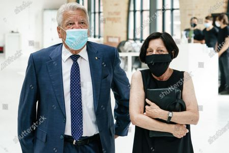 Former German President and patron of the Exilmuseum Joachim Gauck (L) wears a face mask as he talks to German author and patron of the Exilmuseum Herta Mueller (R) prior to a press conference on the  architectural competition for the realization of a new Exilmuseum building in Berlin, Germany, 14 August 2020. The winning architectural draft for the new Exilmuseum comes from Dorte Mandrup office from Copenhagen.