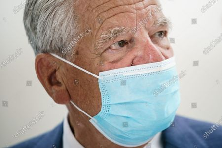 Former German President and patron of the Exilmuseum Joachim Gauck wears a face mask prior to a press conference on the  architectural competition for the realization of a new Exilmuseum building in Berlin, Germany, 14 August 2020. The winning architectural draft for the new Exilmuseum comes from Dorte Mandrup office from Copenhagen.