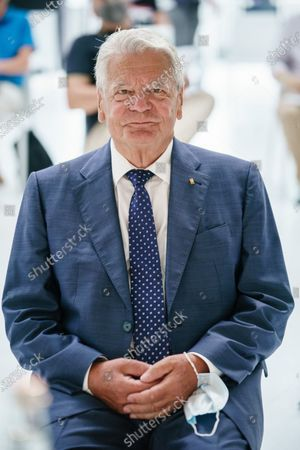 Former German President and Patron of the Exilmuseum Joachim Gauck poses for a picture prior to a press conference on the architectural competition for the realization of a new Exilmuseum building in Berlin, Germany, 14 August 2020. The winning architectural draft for the new Exilmuseum comes from Dorte Mandrup office from Copenhagen.