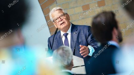 Former German President and Patron of the Exilmuseum Joachim Gauck speaks during a press conference on the  architectural competition for the realization of a new Exilmuseum building in Berlin, Germany, 14 August 2020. The winning architectural draft for the new Exilmuseum comes from Dorte Mandrup office from Copenhagen.